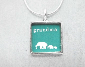 Silver Custom Grandmother's Mother's Necklace - A Grandma to Follow- Silver Square Bird Custom Personalized Baby