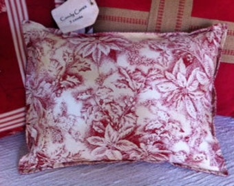 Pillow, Christmas, Poinsettia Holly Berry Toile Cranberry Vintage Red, Polyfil Insert