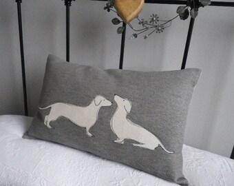 Hand printed daschund pair cushion cover