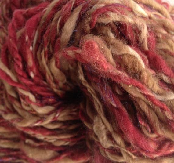 Hand Spun Hand Dyed Alpaca Silk Firestar Yarn - Antique Romance - 93 yds worsted - 3.6 oz