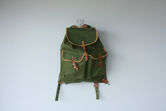 vintage backpack / canvas backpack / military style army green backpack / swiss hiking sack