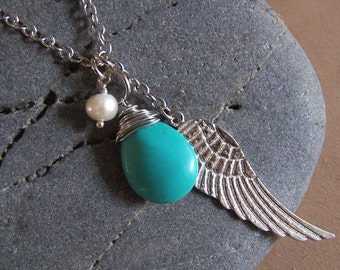 Journey - Turquoise charm necklace, pear beiolette, silver angel wing, fresh water pearl