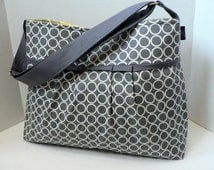 The Monterey Diaper Bag Medium - In Circles In Pewter with Yellow Or Design Your Own - Adjustable Strap and Elastic Pockets