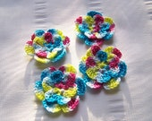 Crocheted flowers set of 4 blue yellow pink cotton 1.5 inch