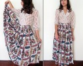 Vintage FLORAL INDIAN GAUZE Maxi Skirt One Size Fits All