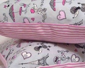 Pillow Cover - Eiffel Tower and Poodle Print with pink and white ticking - 18 inch pillow with zipper closure