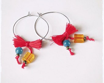 Hoops Earrings with citrine and agate, Handmade thread bow, Colorful Jewelry for a casual outfit