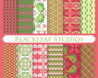 Red Green Christmas Digital Paper for Scrapbooking, Cards, Invites, Photographers Marketing Kits, Crafts