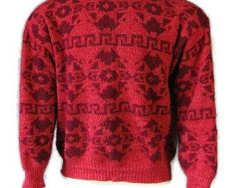 70s Sweater Vintage 1970s Red Maroon Mens Native American Motif Medium