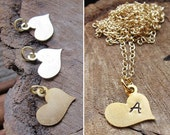 Hand Stamping Heart Blank -  Gold / Silver Initial Heart Charm for Pendant - Personalized necklace Supplies. Heat Blanks, Custom Gold Hearts