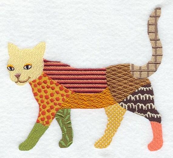 PATCHWORK CAT Machine Embroidered Quilt Blocks AzEB