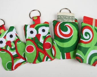 READY TO SHIP, on sale, Owl Keychain Card Holder, gift card holder, license holder