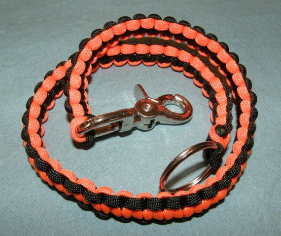 Black and bright orange paracord biker wallet chain cobra for How to make a paracord wallet chain