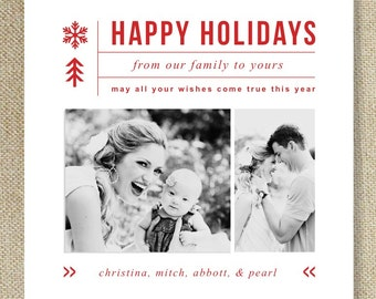 Sale! Holiday Card Templates for Photographers - Professional Photography Template - Holiday Card Design - Design By Bittersweet