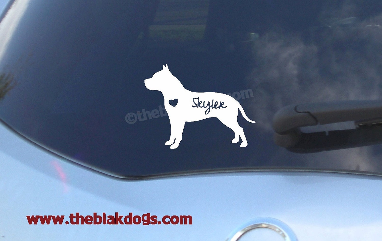 Pit Bull Silhouette Vinyl Sticker Personalized Car Decal