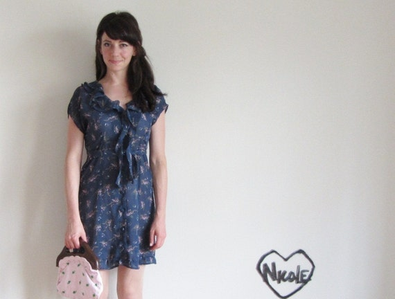navy floral flutter dress . 1940s style summer frock .small.medium .sale