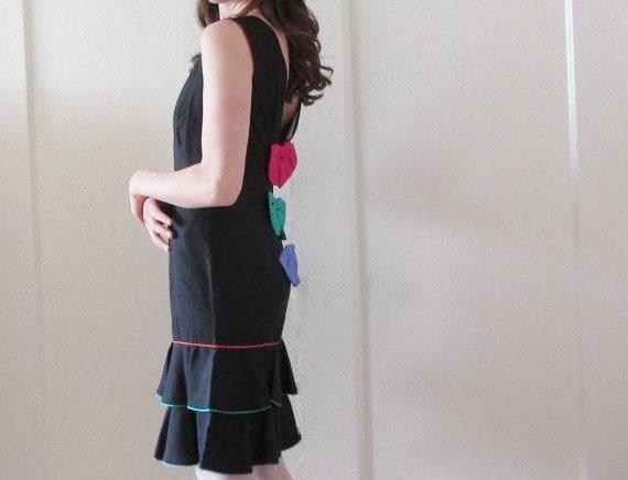 1980 punky brewster dress . rainbow bow ties and silk oooh .medium .sale s a l e