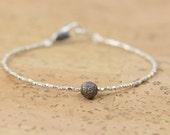 Diamond bracelet , sterling silver beaded