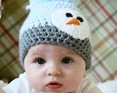 Custom for pinkgal83 6-12 months Baby Hat with Snowman Face Gray and Ice Blue Ultra Soft Yarn No Pom Pom