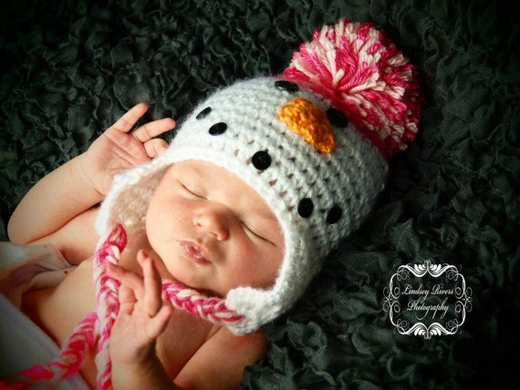Baby Hat 0-3 Months SnowmanHat for Girl with Earflaps Light Pink and Hot Pink Ultra Soft Yarn