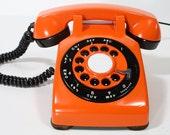 Refurbished Retro Orange Bell Rotary Telephone