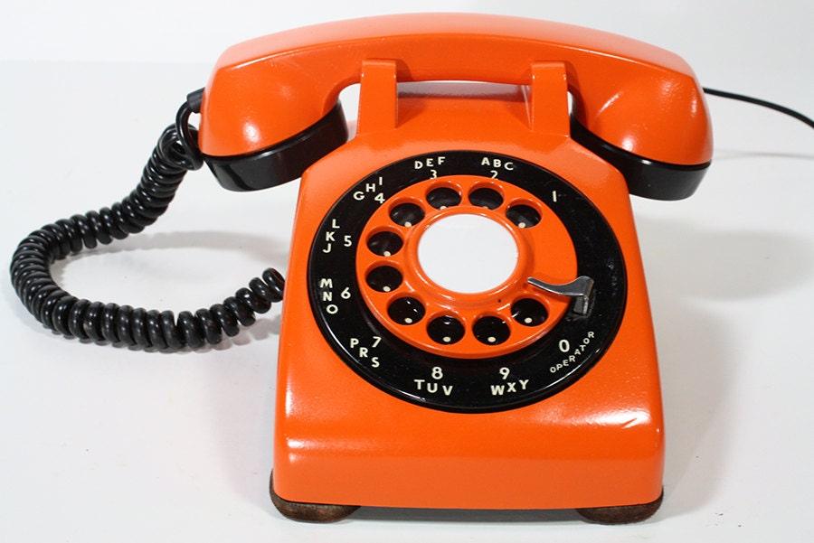 refurbished retro orange bell rotary telephone. Black Bedroom Furniture Sets. Home Design Ideas