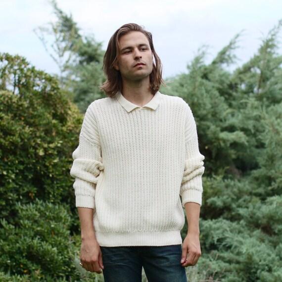 Unisex Cream Knit Sweater w/ Collar - M