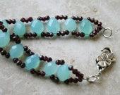 Chalcedony bracelet, garnet bracelet