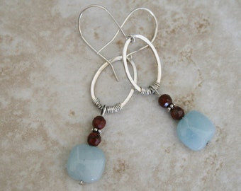 Blue topaz earrings  Jasper earrings sterling silver earrings