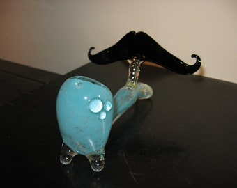 Glass Mustache Pipe STANDING Customizable Gandlock