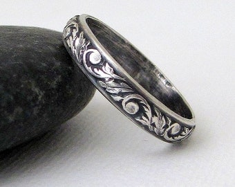 Wedding Ring Vintage Antique Look Floral Scroll Leaf Design Sterling Silver Flower Pattern Antique Wedding Bands Promise Rings Purity Rings