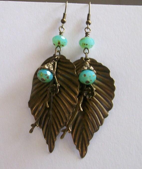 Earthy Antique Brass and Czech Turquoise Opalite Leaf Dangle Earrings