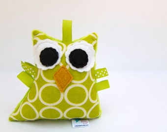 Owl Rattle Plush Baby Toy Softie  Lime Green Ready to Ship