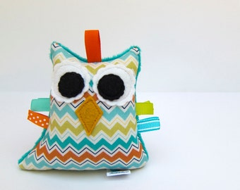 Owl Plush Rattle Baby Toy Stuffed Owl Green Turquoise Aqua Teal Orange Ready to Ship