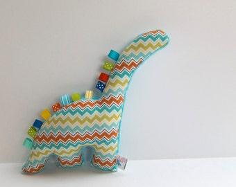 Chevron Plush Dinosaur Teal Turquoise Apple Green Orange