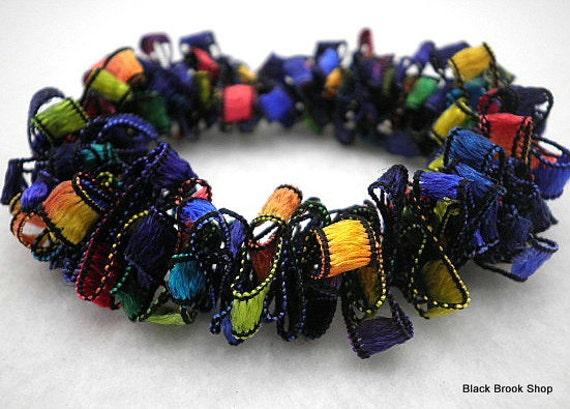 Primary Colors Trellis Ribbon Stretch Bracelet