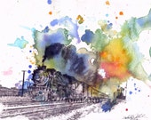 Train Watercolor Painting Print - 13x19 in print Great Children Kids Wall Art and Every Engine Lover