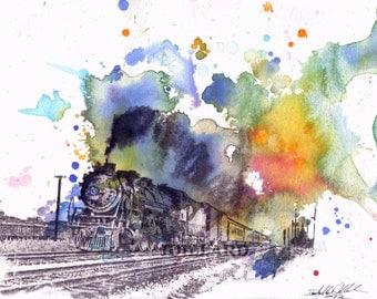 Train Decor Art Print from Original Watercolor Painting 13x19 in Print Nursery Decor Nursery Art Great Children's Art  Bright Wall Art