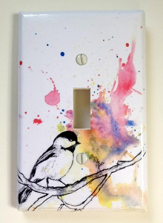 Chickadee Bird Art Decorative Light Switch Cover Great Room Decor For Kids Baby Nursery Decor Art and For Any Bird Lover