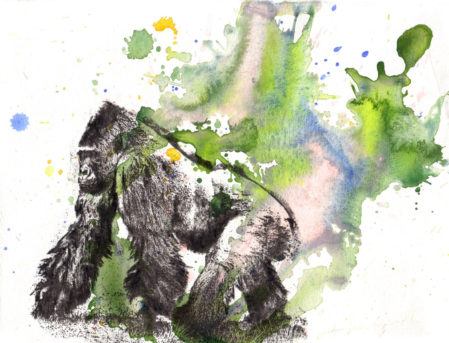 Gorilla Animal Watercolor Painting Original Watercolor