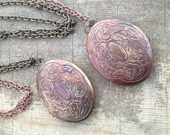 Large Vintage Locket Necklace-Floral Motif-Hand Patinated