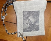 Prayer Bag, Madonna and Child hand stamped linen bag with medal for rosary and meditation objects.