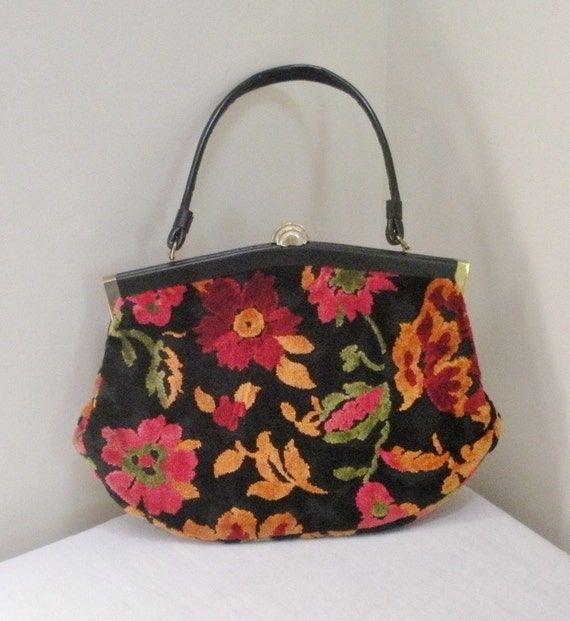 Vintage 1950s Floral Carpet Bag Purse - Handbag