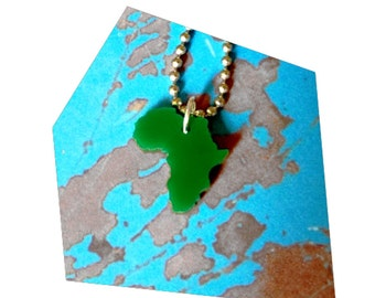 Small Africa Necklace, Green Laser Cut Acrylic