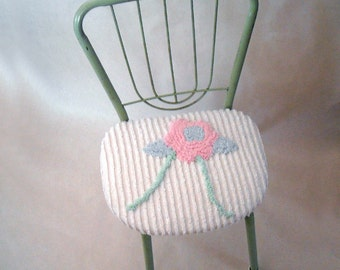 vintage upcycled seafoam green shabby chic child's chair with chenille seat