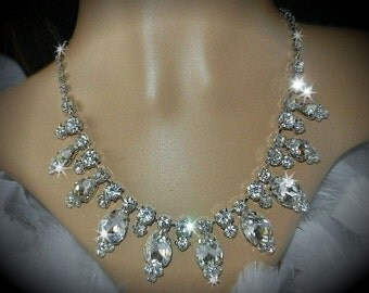 Rhinestone Bridal Drop Necklace and Earrings Set