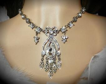 Renaissance Rhinestone Bridal Chandelier Necklace