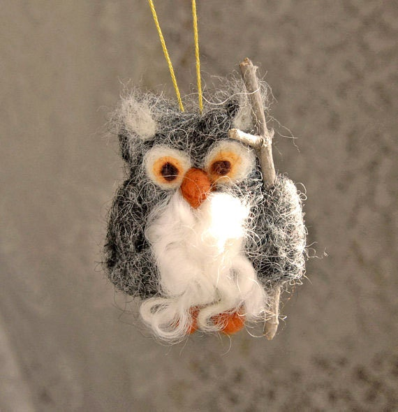 Grey Owl, Needle Felted Ornament