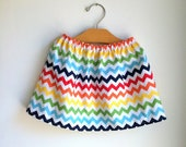 chevron skirt - rainbow roygbiv - for baby toddler girl - handmade modern clothing by noah and lilah christmasinjuly