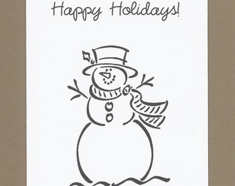 Frosty the Snowman - Color Your Own Christmas Cards - Set of 4 - Great for Kids' Thank Yous